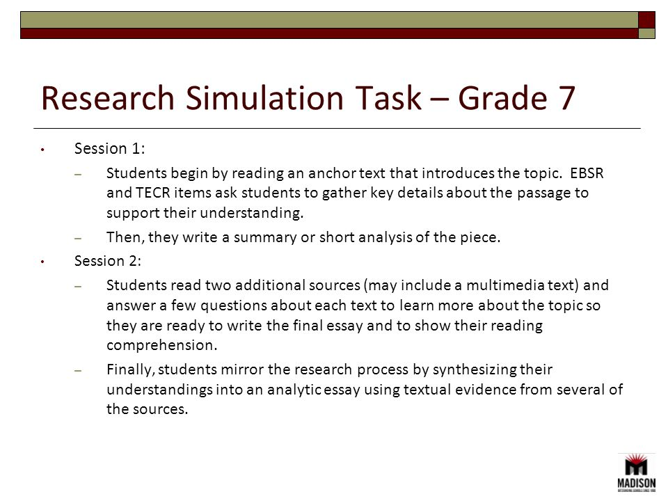 Session 1: – Students begin by reading an anchor text that introduces the topic. EBSR and TECR items ask students to gather key details about the pass