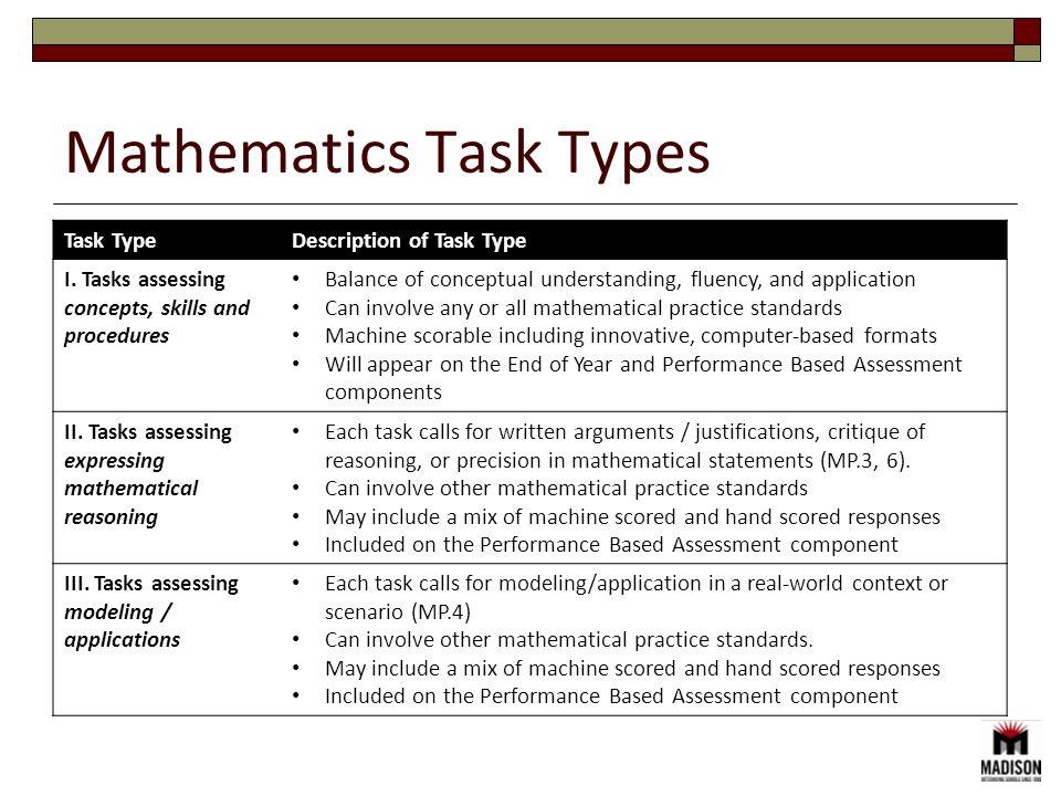 Mathematics Task Types Task TypeDescription of Task Type I.