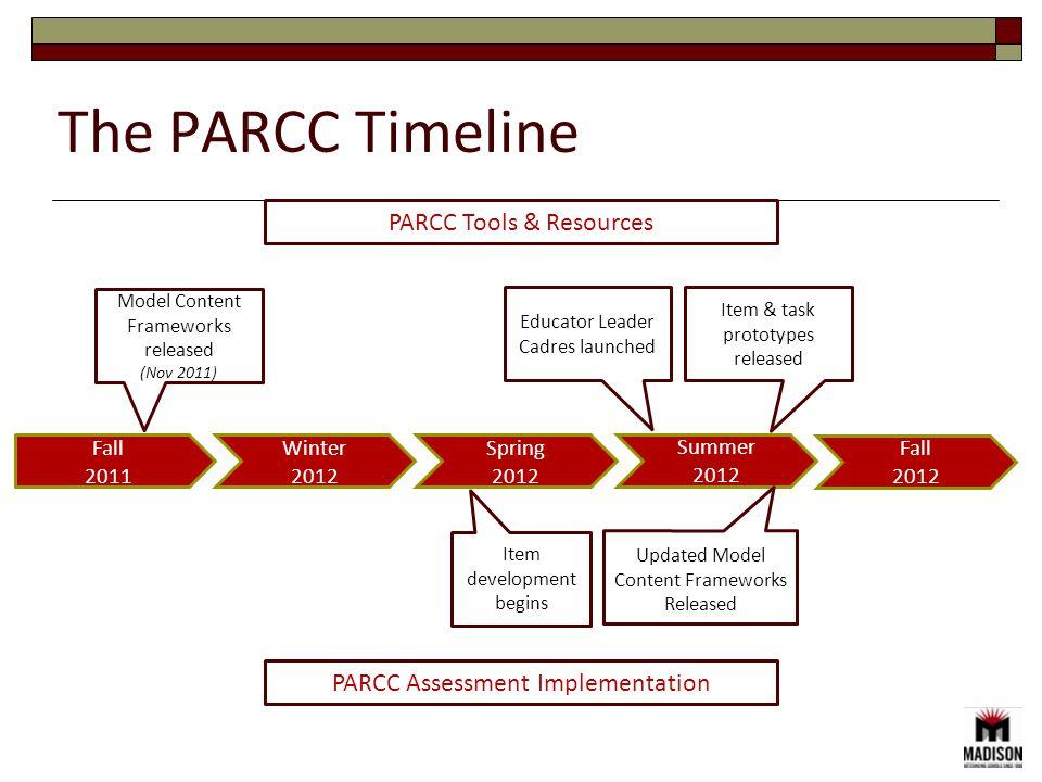 The PARCC Timeline Fall 2011 Winter 2012 Spring 2012 Summer 2012 PARCC Assessment Implementation PARCC Tools & Resources Model Content Frameworks released (Nov 2011) Educator Leader Cadres launched Item & task prototypes released Item development begins Updated Model Content Frameworks Released Fall 2012