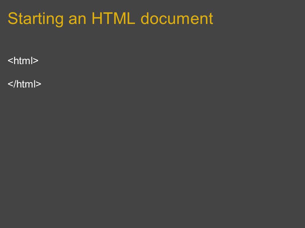 Starting an HTML document