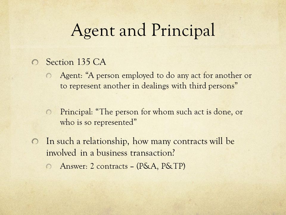 Duties of Principal to his Agent Ss.