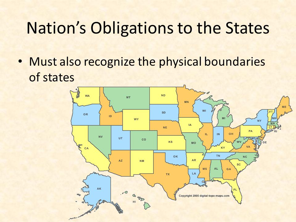 Nation's Obligations to the States Must also recognize the physical boundaries of states