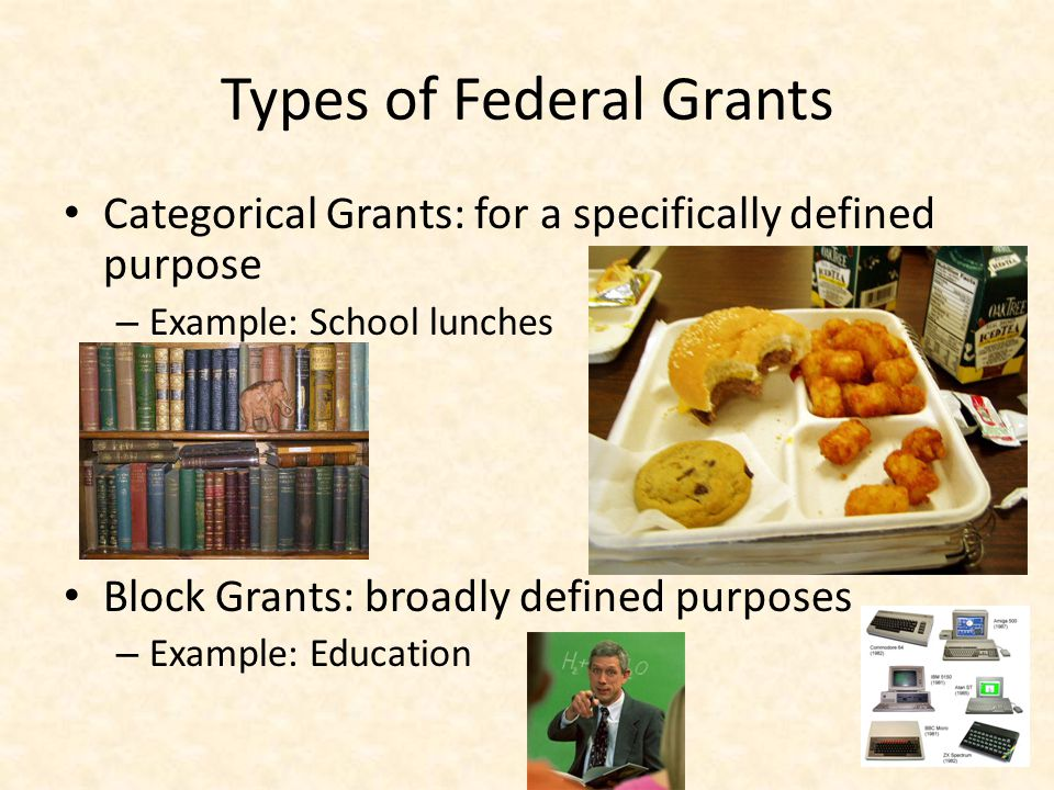 Types of Federal Grants Categorical Grants: for a specifically defined purpose – Example: School lunches Block Grants: broadly defined purposes – Example: Education