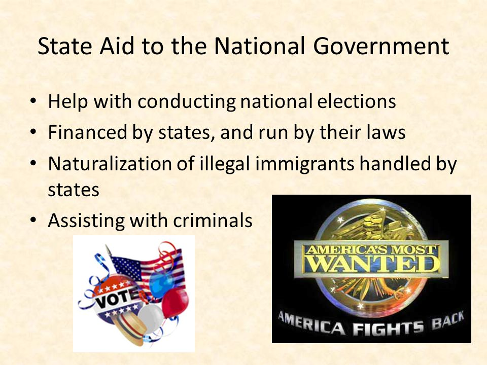 State Aid to the National Government Help with conducting national elections Financed by states, and run by their laws Naturalization of illegal immigrants handled by states Assisting with criminals