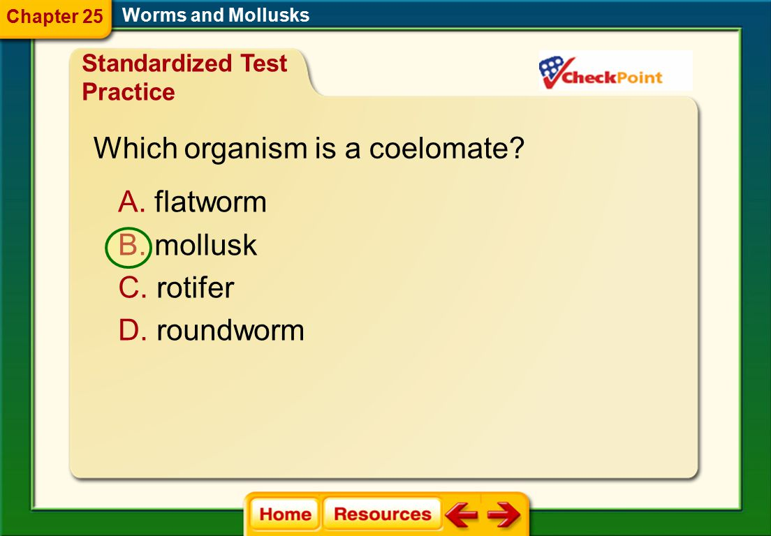 Worms and Mollusks True or False Flatworms have radial symmetry. Chapter Assessment Questions Chapter 25