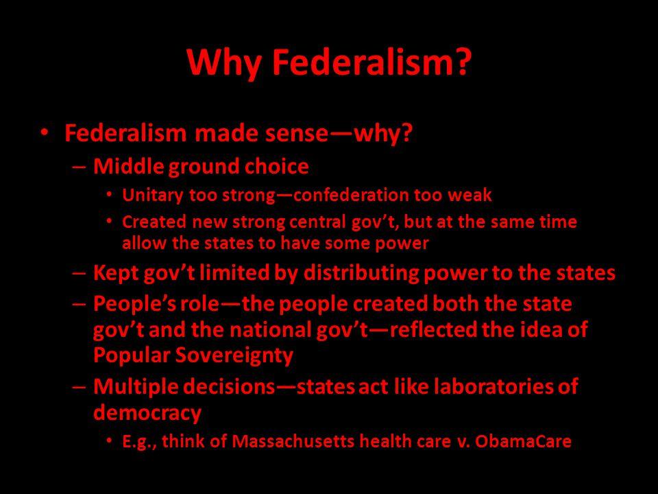 Why Federalism.Federalism made sense—why.