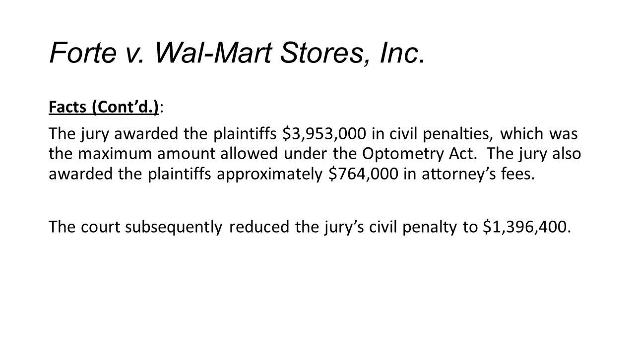 Forte v. Wal-Mart Stores, Inc.