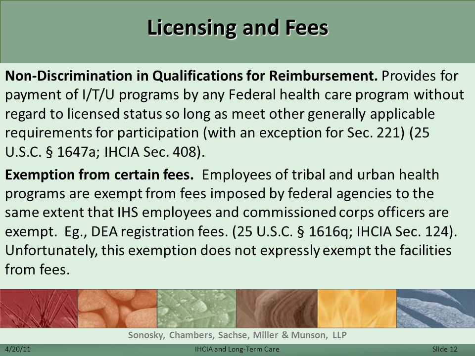 Licensing and Fees Non-Discrimination in Qualifications for Reimbursement.