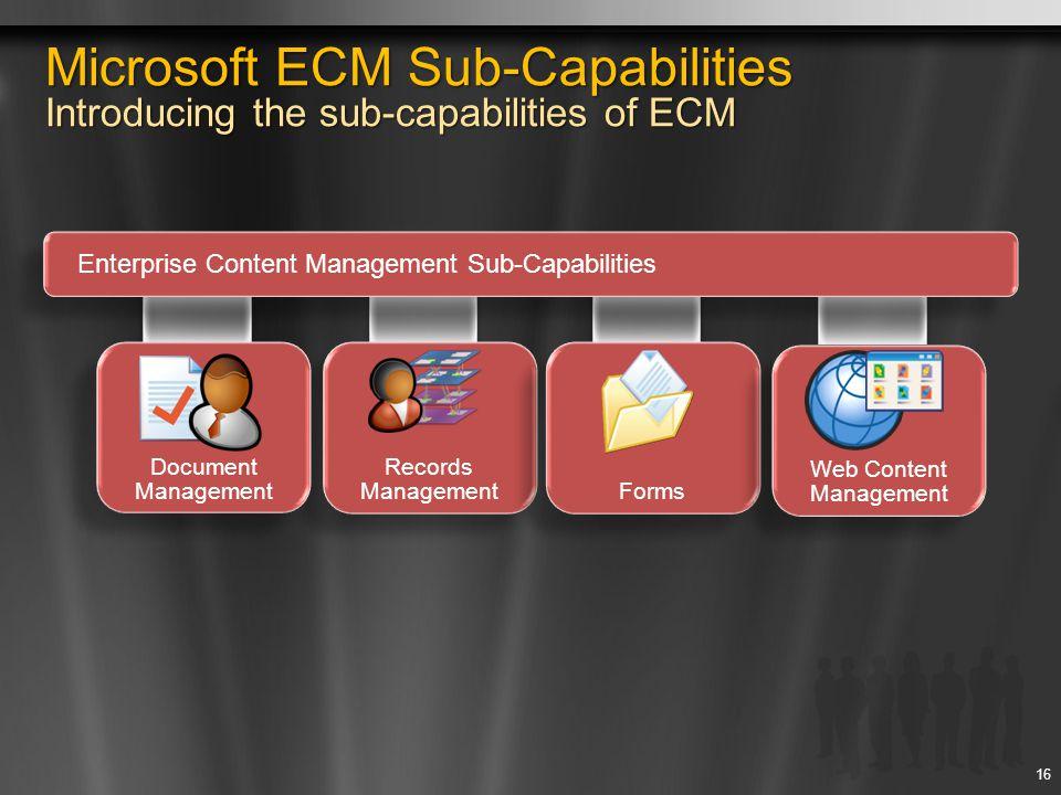 16 Enterprise Content Management Sub-Capabilities Records Management Document Management Forms Web Content Management Microsoft ECM Sub-Capabilities I
