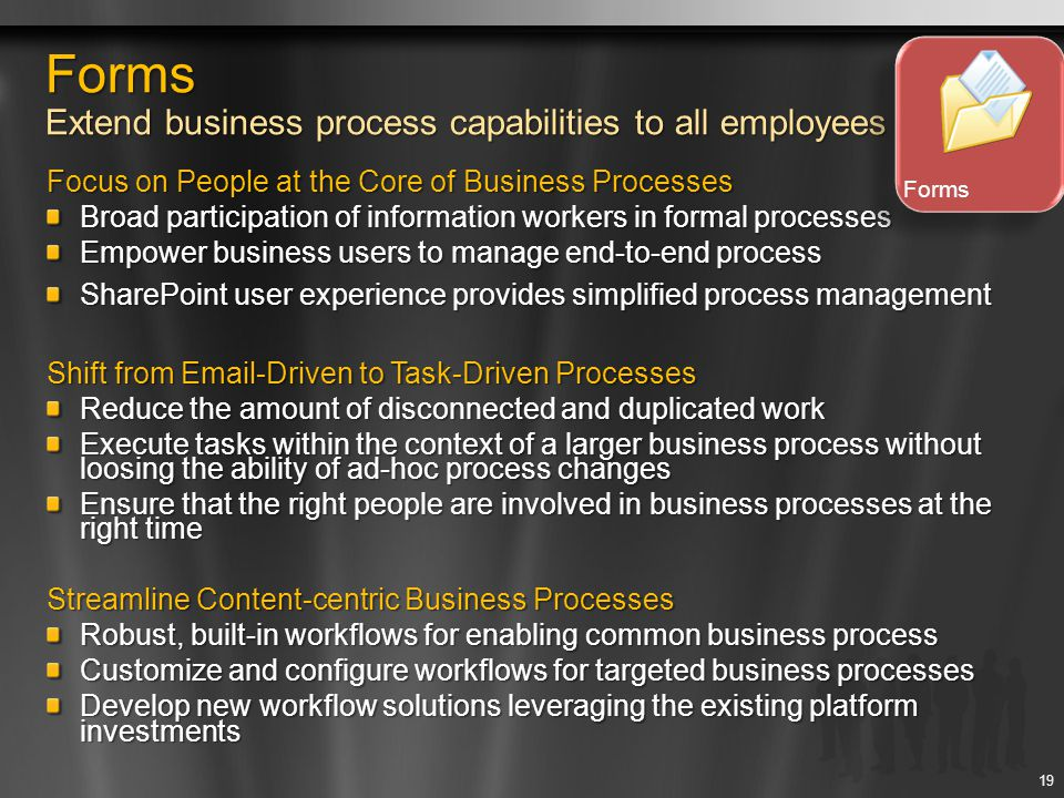 Forms Extend business process capabilities to all employees Focus on People at the Core of Business Processes Broad participation of information worke