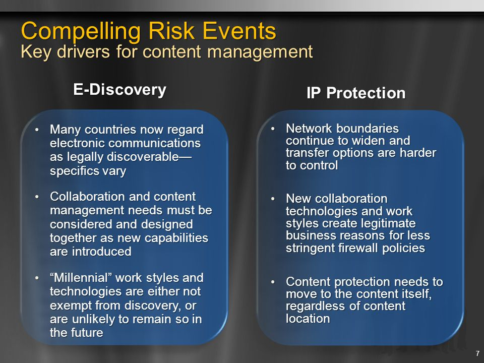 Records Management Extend records management to all employees Establish a Secure Enterprise Records Repository Records Vault capabilities ensures that records are locked and never modified Hold capabilities allow one or more holds that suspend policies on items to support Legal eDiscovery Maintain metadata on items separately from records' metadata Reduce Risk through Policies Use content types for describing properties, policies, and workflows for a specific type of content Easily apply information management policies to business records Maintain information on items using the Document Information Panel Use barcodes, labeling, and tracking capabilities to manage physical records Seamlessly Integrate Records Management into the Document Lifecycle Manage the full lifecycle of enterprise records from creation through expiration, including integrated deletion workflow Record routing that enables automated routing of content to its proper location Content-type and policy-based document retention and expiration schedules Records Management 18