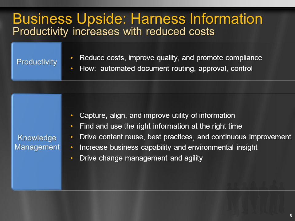 Forms Extend business process capabilities to all employees Focus on People at the Core of Business Processes Broad participation of information workers in formal processes Empower business users to manage end-to-end process SharePoint user experience provides simplified process management Shift from Email-Driven to Task-Driven Processes Reduce the amount of disconnected and duplicated work Execute tasks within the context of a larger business process without loosing the ability of ad-hoc process changes Ensure that the right people are involved in business processes at the right time Streamline Content-centric Business Processes Robust, built-in workflows for enabling common business process Customize and configure workflows for targeted business processes Develop new workflow solutions leveraging the existing platform investments Forms 19