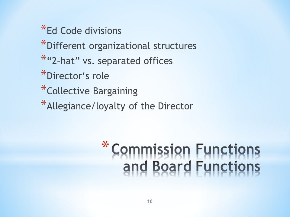 10 * Ed Code divisions * Different organizational structures * 2–hat vs.
