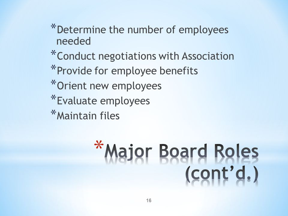 16 * Determine the number of employees needed * Conduct negotiations with Association * Provide for employee benefits * Orient new employees * Evaluate employees * Maintain files