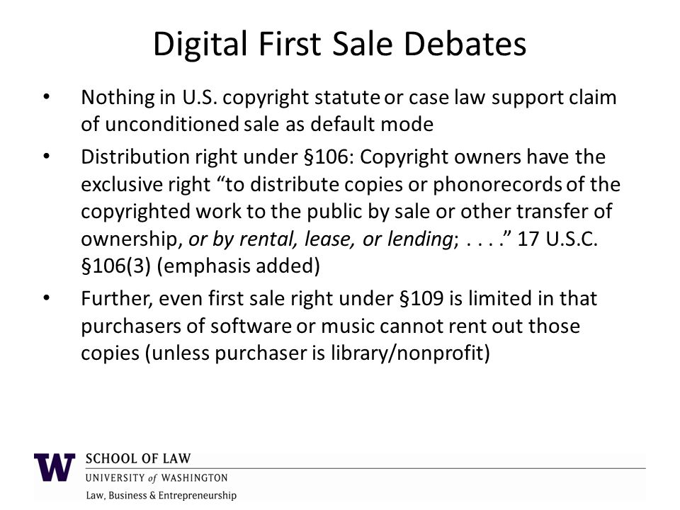 Innovative Digital Distribution Models Software EULAs: allows consumers to pay for only rights/features they want, including unlocking more features over time; not a one-size-fits-all sale; also enabled mass market because vendors could maintain trade secrets and other aspects not covered by copyright or patent Streaming content: licensed access to more content than most consumers could ever afford to buy or store Licensed sales of content (e.g., iTunes): Vendor transfers digital file for single upfront price, but under license, not sale; license grants permission for consumer to make copies on certain other devices for ease of use/access Licensed rentals of content: digital file resides on user's device for some defined period of time