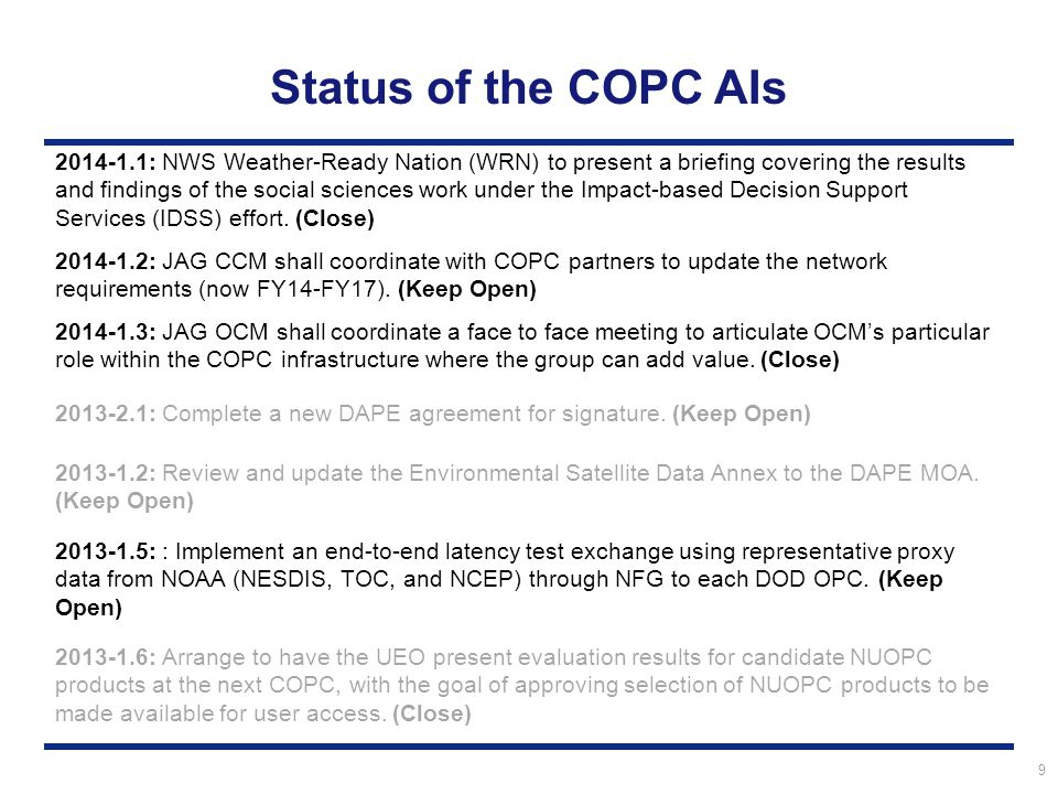 10 Status of the Other COPC AIs 2012-1.6: Work with the Product Distribution and Access (PDA) Project Manager to understand the critical milestones for the implementation of the PDA and how this will impact the DAPE Gateway and DOD partners.