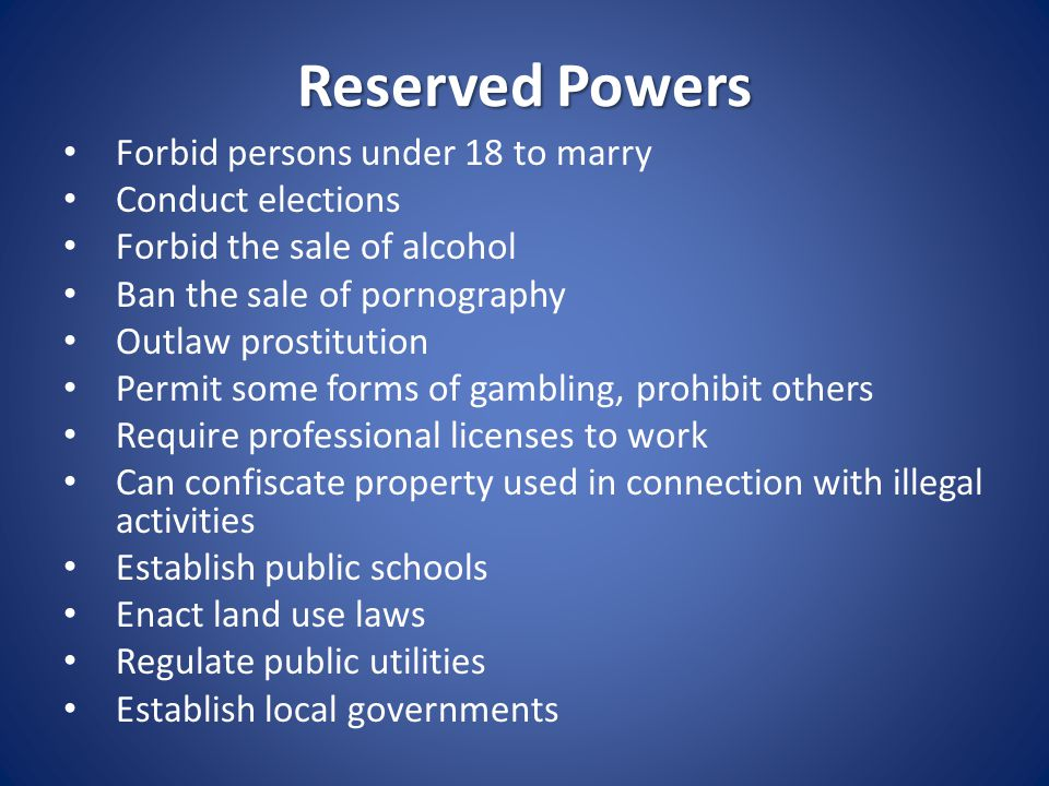 Concurrent Powers Those powers that both the National Government and the States possess and exercise Power to levy and collect taxes Define criminals and set punishment Take private property for public use Borrow money Establish courts