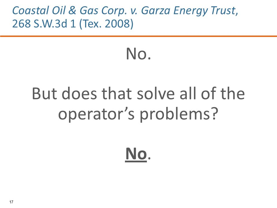 No. But does that solve all of the operator's problems.