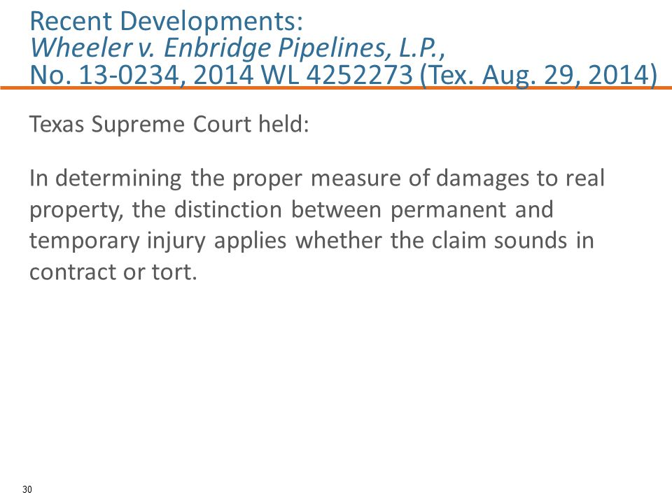 Texas Supreme Court held: In determining the proper measure of damages to real property, the distinction between permanent and temporary injury applies whether the claim sounds in contract or tort.