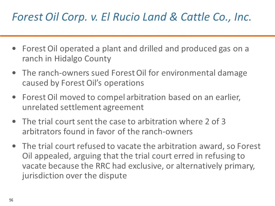 Forest Oil operated a plant and drilled and produced gas on a ranch in Hidalgo County The ranch-owners sued Forest Oil for environmental damage caused