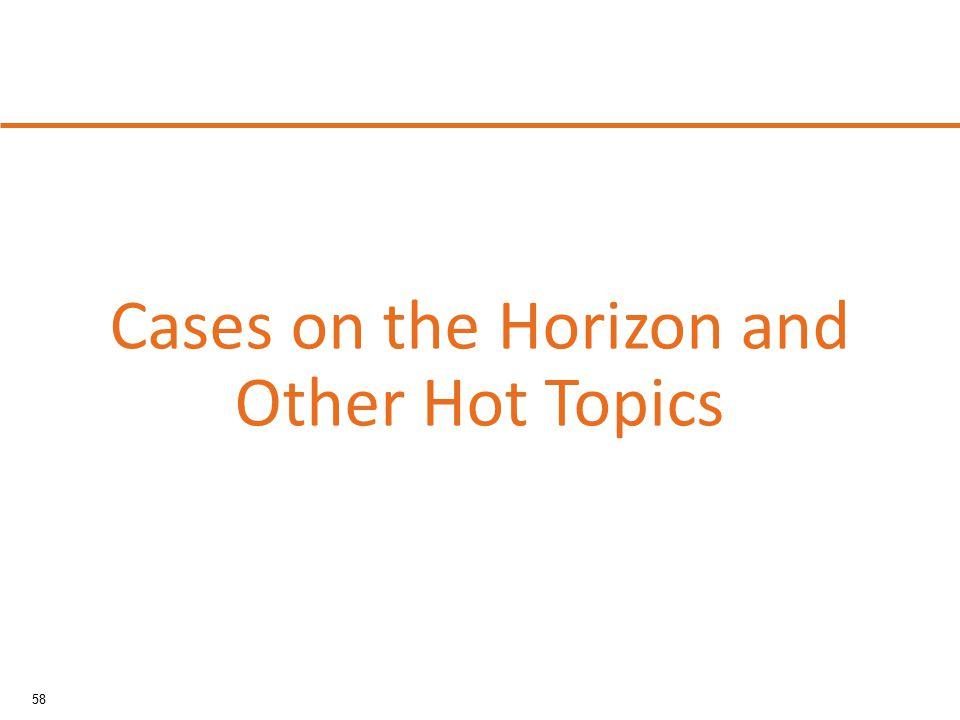 58 Cases on the Horizon and Other Hot Topics