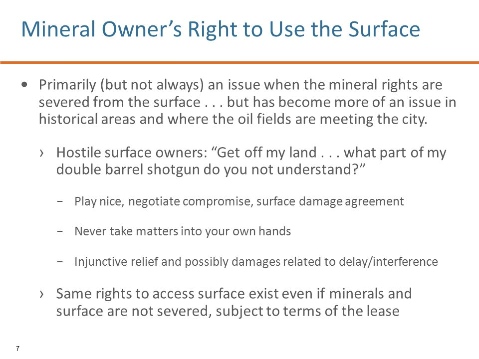 Primarily (but not always) an issue when the mineral rights are severed from the surface... but has become more of an issue in historical areas and wh