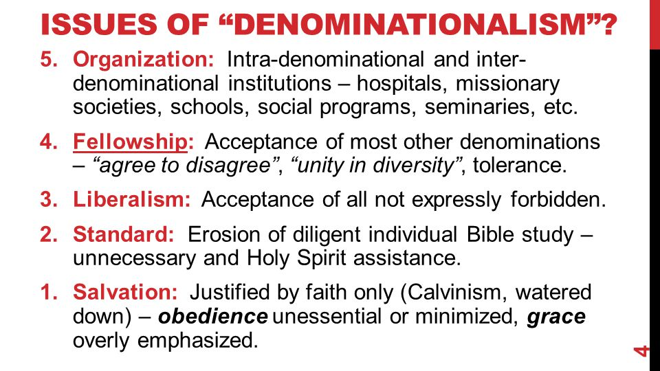 "ISSUES OF ""DENOMINATIONALISM""? 5.Organization: Intra-denominational and inter- denominational institutions – hospitals, missionary societies, schools,"