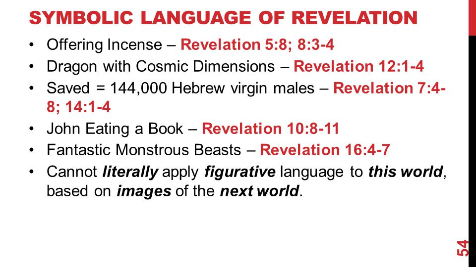 SYMBOLIC LANGUAGE OF REVELATION Offering Incense – Revelation 5:8; 8:3-4 Dragon with Cosmic Dimensions – Revelation 12:1-4 Saved = 144,000 Hebrew virg