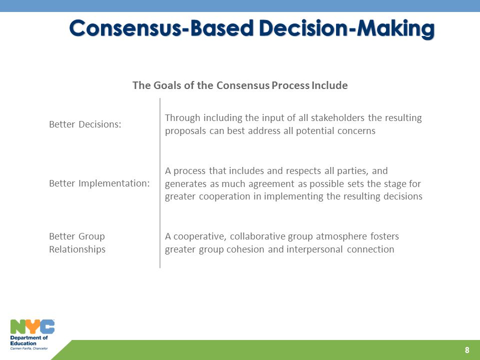 8 The Goals of the Consensus Process Include Better Decisions: Through including the input of all stakeholders the resulting proposals can best address all potential concerns Better Implementation: A process that includes and respects all parties, and generates as much agreement as possible sets the stage for greater cooperation in implementing the resulting decisions Better Group Relationships A cooperative, collaborative group atmosphere fosters greater group cohesion and interpersonal connection