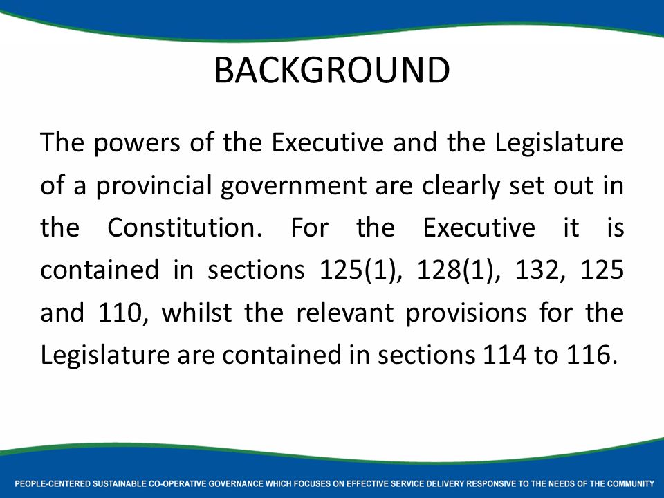 BACKGROUND The powers of the Executive and the Legislature of a provincial government are clearly set out in the Constitution.