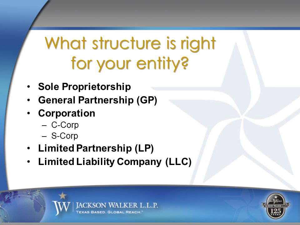 Sole Proprietorship General Partnership (GP) Corporation –C-Corp –S-Corp Limited Partnership (LP) Limited Liability Company (LLC) What structure is right for your entity