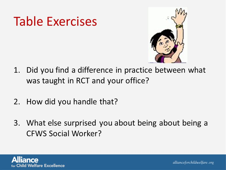 Table Exercises 1.Did you find a difference in practice between what was taught in RCT and your office? 2.How did you handle that? 3.What else surpris