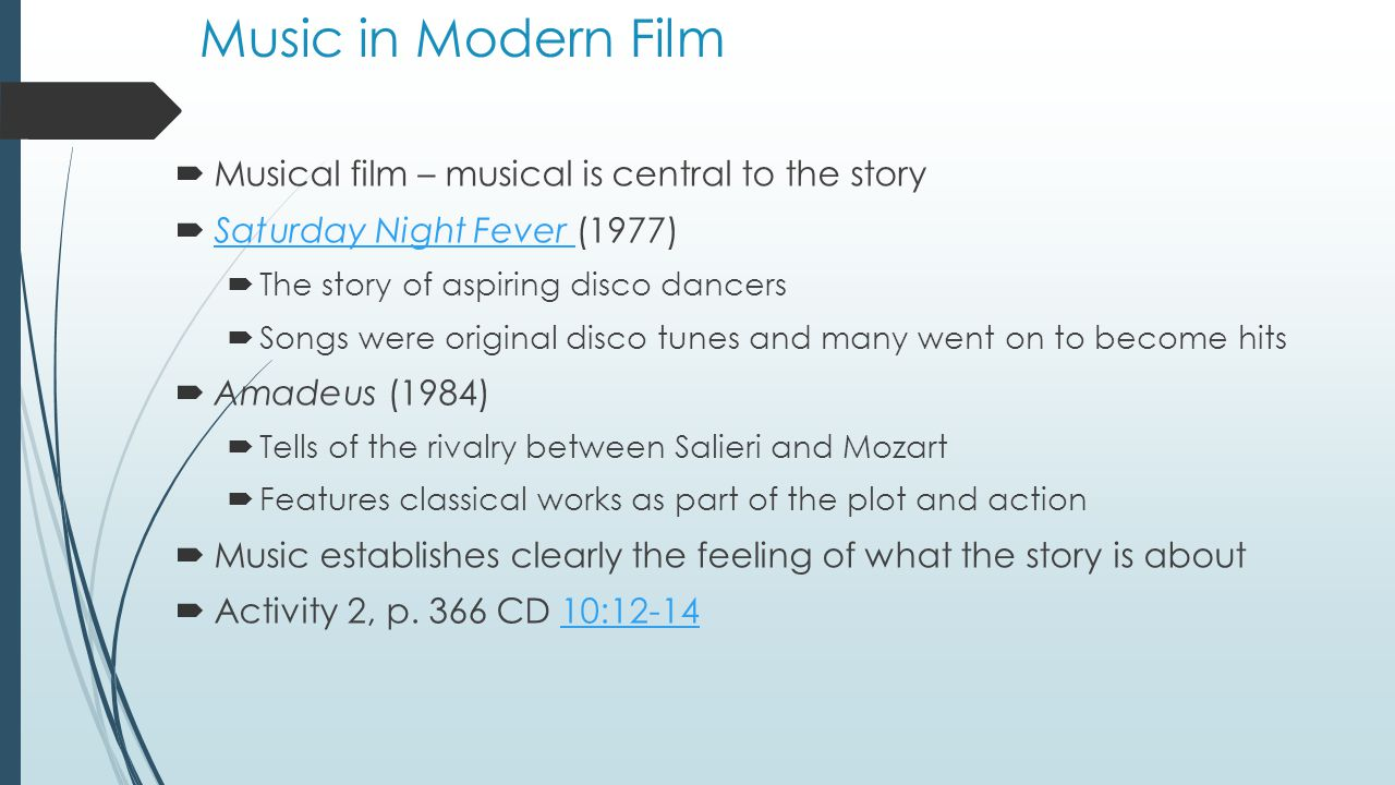 Music Enhances Drama  How music enhances film drama  Establishing character  Character themes:  Melodies associated with a particular character that recur throughout the film  The Untouchables – has a sinister underworld theme of Al Capone by composer Ennio Morricone The Untouchables  The music usually exhibits a style or melody form that overtly suggests traits of the character in question  Superman (1978) John Williams – Superman's theme is majestic Superman John Williams  The Red Violin (1998) John Corigliano  Anna's Theme played by Joshua Bell Ennio Morricone John Williams John Corigliano