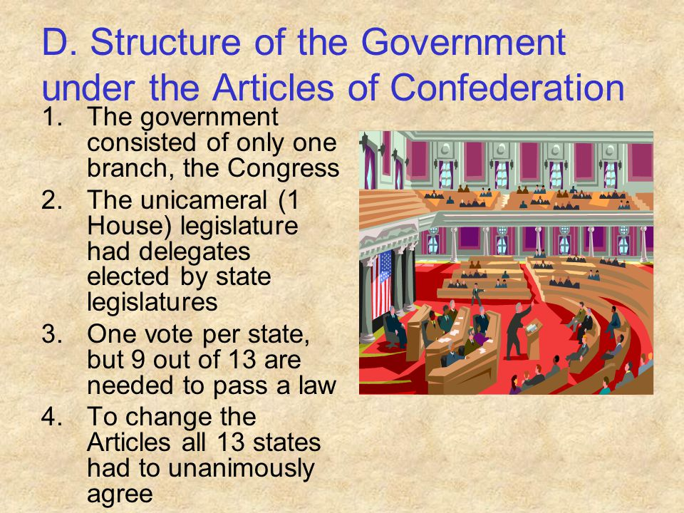 D. Structure of the Government under the Articles of Confederation 1.The government consisted of only one branch, the Congress 2.The unicameral (1 Hou