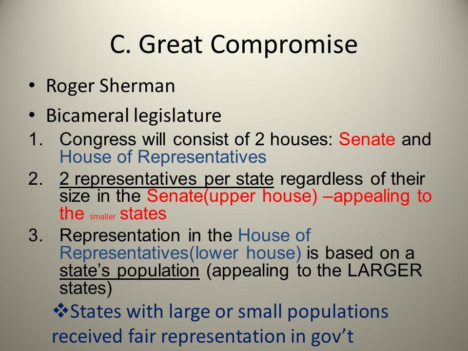 C. Great Compromise Roger Sherman Bicameral legislature 1.Congress will consist of 2 houses: Senate and House of Representatives 2.2 representatives p