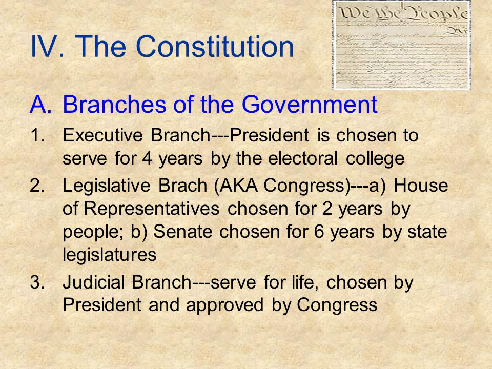 IV. The Constitution A.Branches of the Government 1.Executive Branch---President is chosen to serve for 4 years by the electoral college 2.Legislative