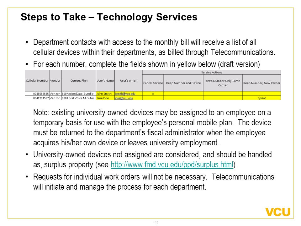 11 Steps to Take – Technology Services Department contacts with access to the monthly bill will receive a list of all cellular devices within their departments, as billed through Telecommunications.