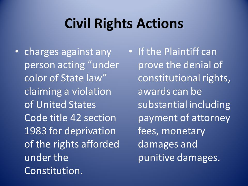 Civil Rights Actions charges against any person acting under color of State law claiming a violation of United States Code title 42 section 1983 for deprivation of the rights afforded under the Constitution.