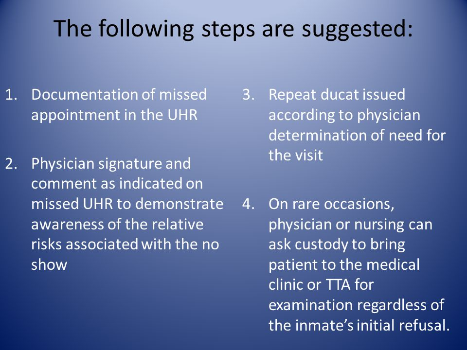 The following steps are suggested: 1.Documentation of missed appointment in the UHR 2.Physician signature and comment as indicated on missed UHR to demonstrate awareness of the relative risks associated with the no show 3.Repeat ducat issued according to physician determination of need for the visit 4.On rare occasions, physician or nursing can ask custody to bring patient to the medical clinic or TTA for examination regardless of the inmate's initial refusal.