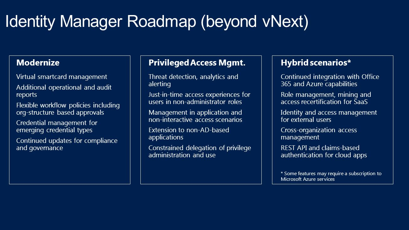 Identity Manager Roadmap (beyond vNext) Modernize Virtual smartcard management Additional operational and audit reports Flexible workflow policies inc