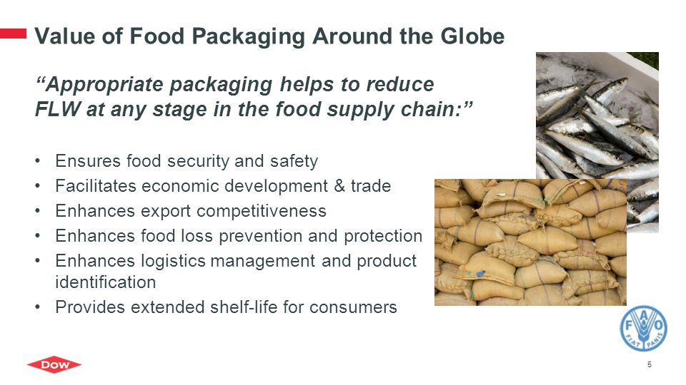 """Value of Food Packaging Around the Globe """"Appropriate packaging helps to reduce FLW at any stage in the food supply chain:"""" Ensures food security and"""