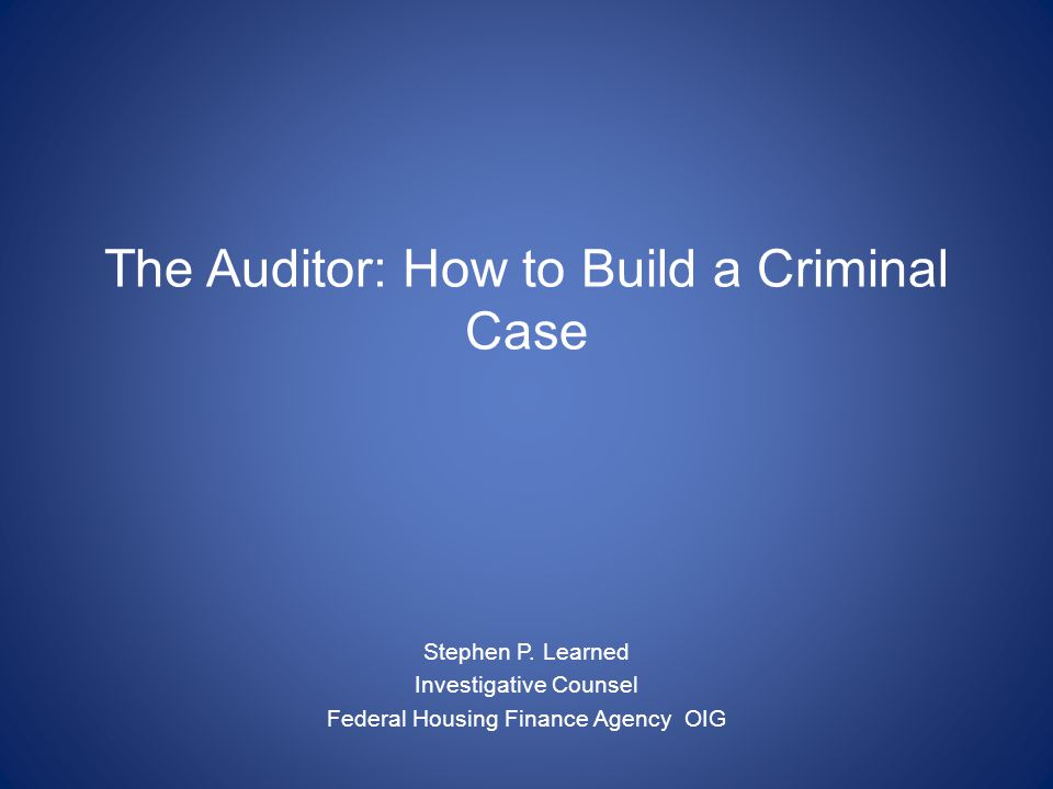 The Auditor: How to Build a Criminal Case Stephen P.