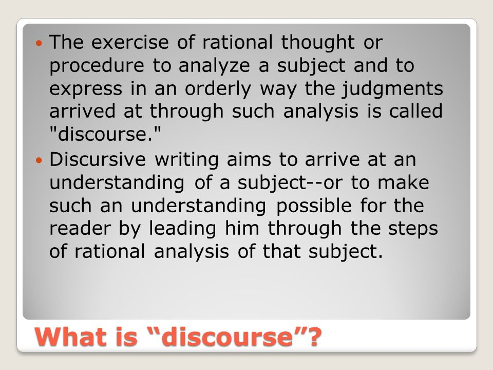 What is discourse .