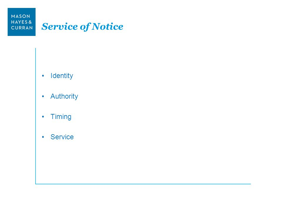 Service of Notice Identity Authority Timing Service