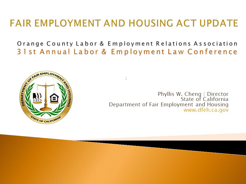 u D Phyllis W. Cheng | Director State of California Department of Fair Employment and Housing www.dfeh.ca.gov