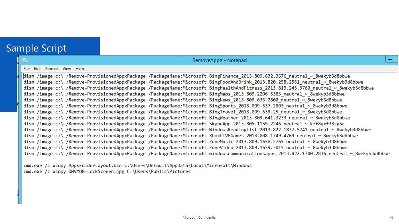 Microsoft Confidential Sample Script 15