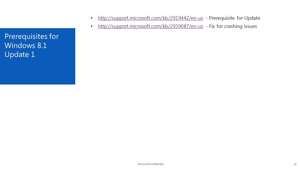 Microsoft Confidential Prerequisites for Windows 8.1 Update 1 25 http://support.microsoft.com/kb/2919442/en-us - Prerequisite for Update http://suppor