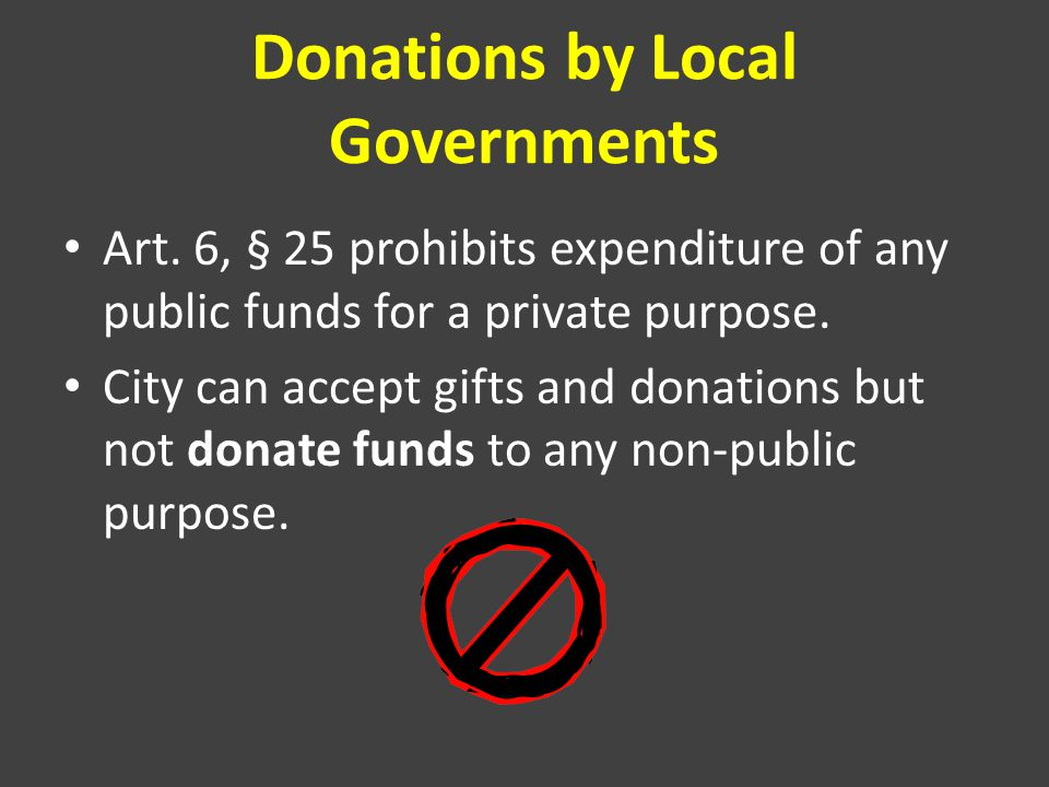 Donations by Local Governments Art.