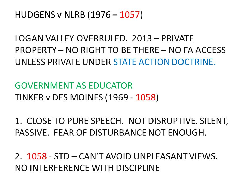 HUDGENS v NLRB (1976 – 1057) LOGAN VALLEY OVERRULED. 2013 – PRIVATE PROPERTY – NO RIGHT TO BE THERE – NO FA ACCESS UNLESS PRIVATE UNDER STATE ACTION D