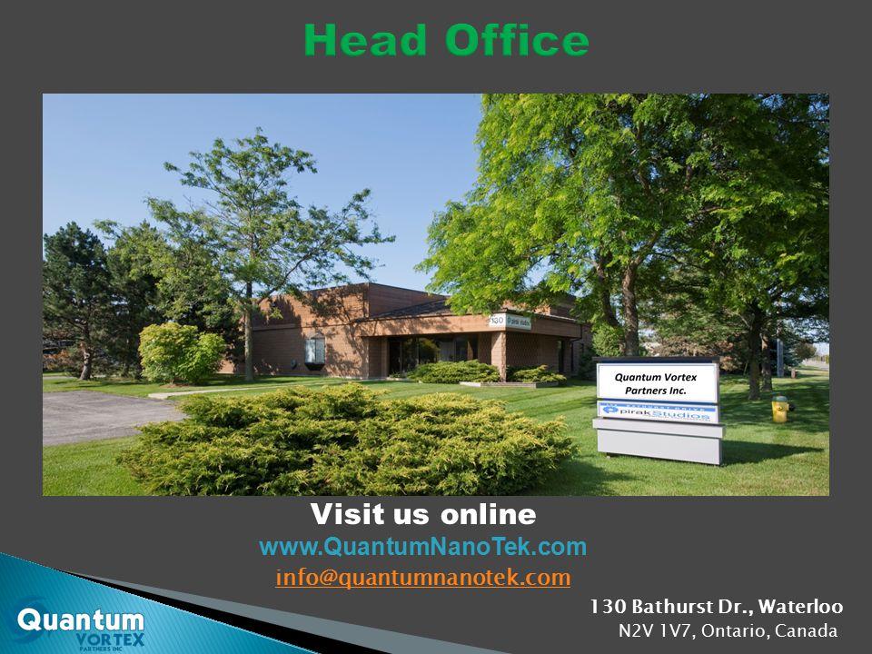 130 Bathurst Dr., Waterloo N2V 1V7, Ontario, Canada info@quantumnanotek.com Visit us online www.QuantumNanoTek.com